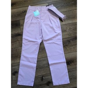 Missguided Lilac Buckle Belted Cigarette Pants
